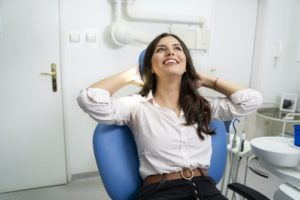 Woman relaxes after her treatment with nitrous oxide